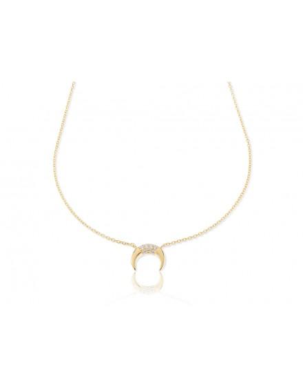 Gargantilla de plata  color oro con media luna con circonitas