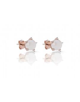 Pendientes color rosa con perla natural y garras de circonitas