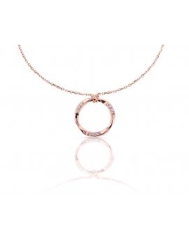 Gargantilla plata círculo desigual rosa con circonitas