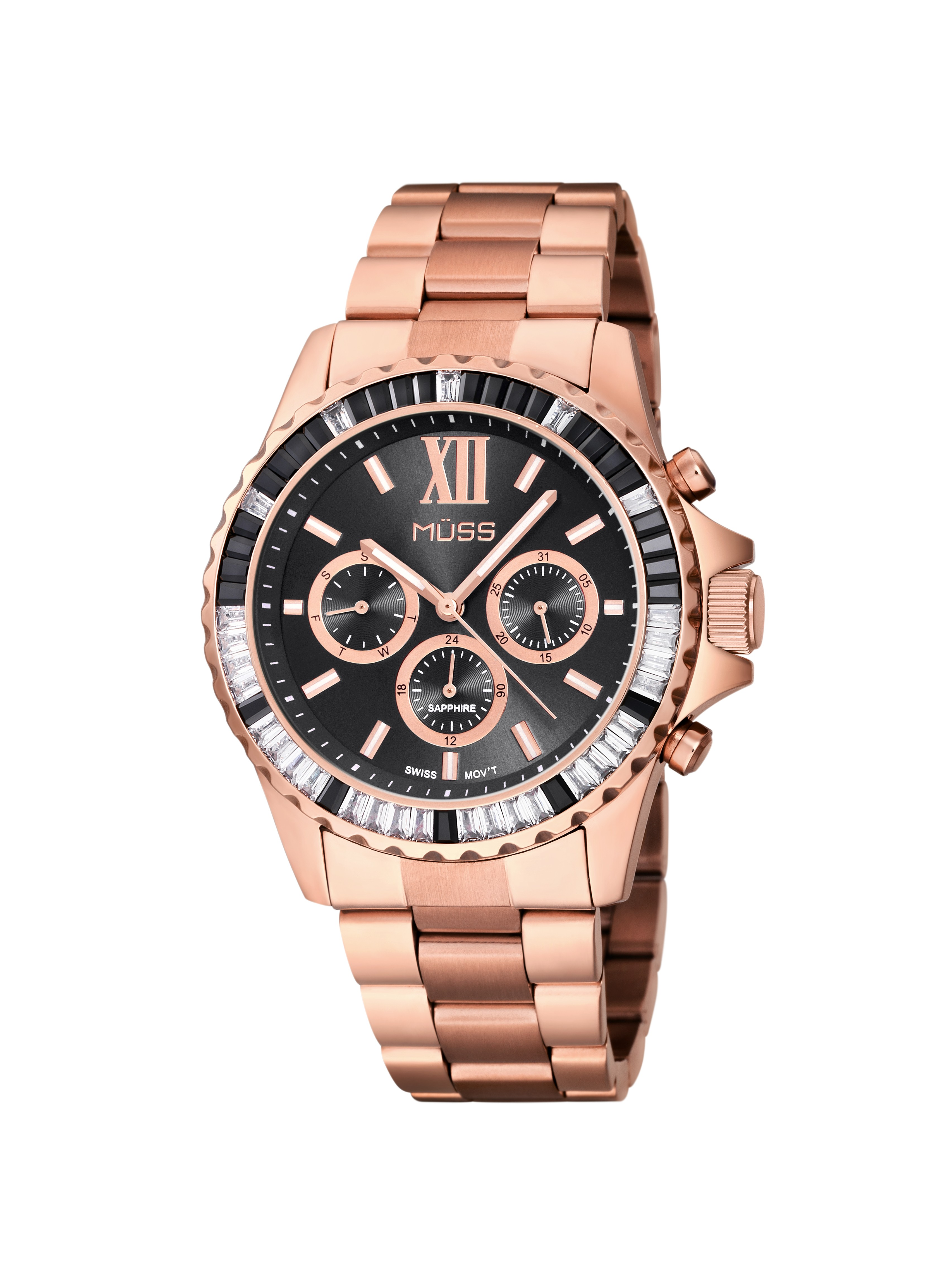740bb24c17a7 Reloj MÜSS colección Grace con esfera negra sunray detalles en oro rosa