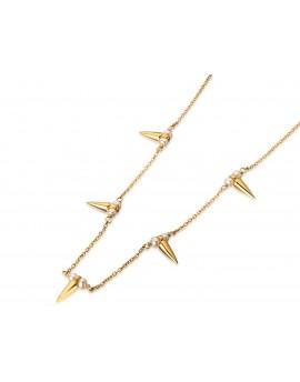 Gargantilla dorada de pinchos y perlas