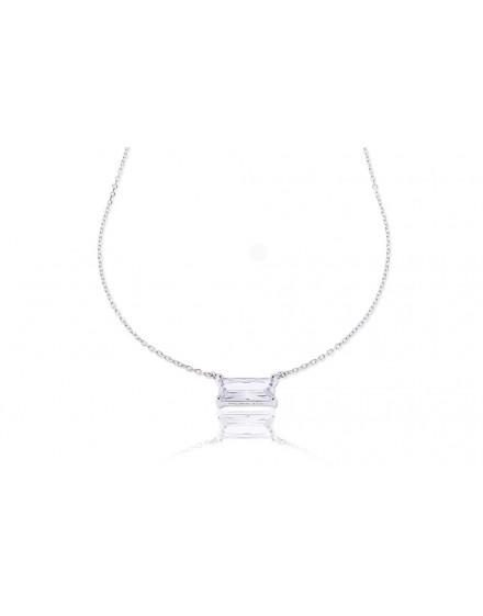 Gargantilla en plata con circonita en talla baguette