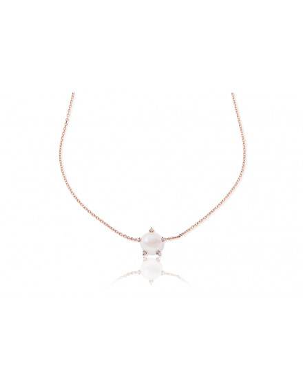 Gargantilla color rosa de perla natural con garras de circonitas