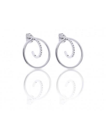 Pendientes círculo plata con arco de circonitas