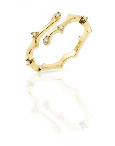 Anillo de plata doble color oro con circonitas salteadas