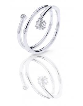 Anillo de plata con circonita en  estructura doble
