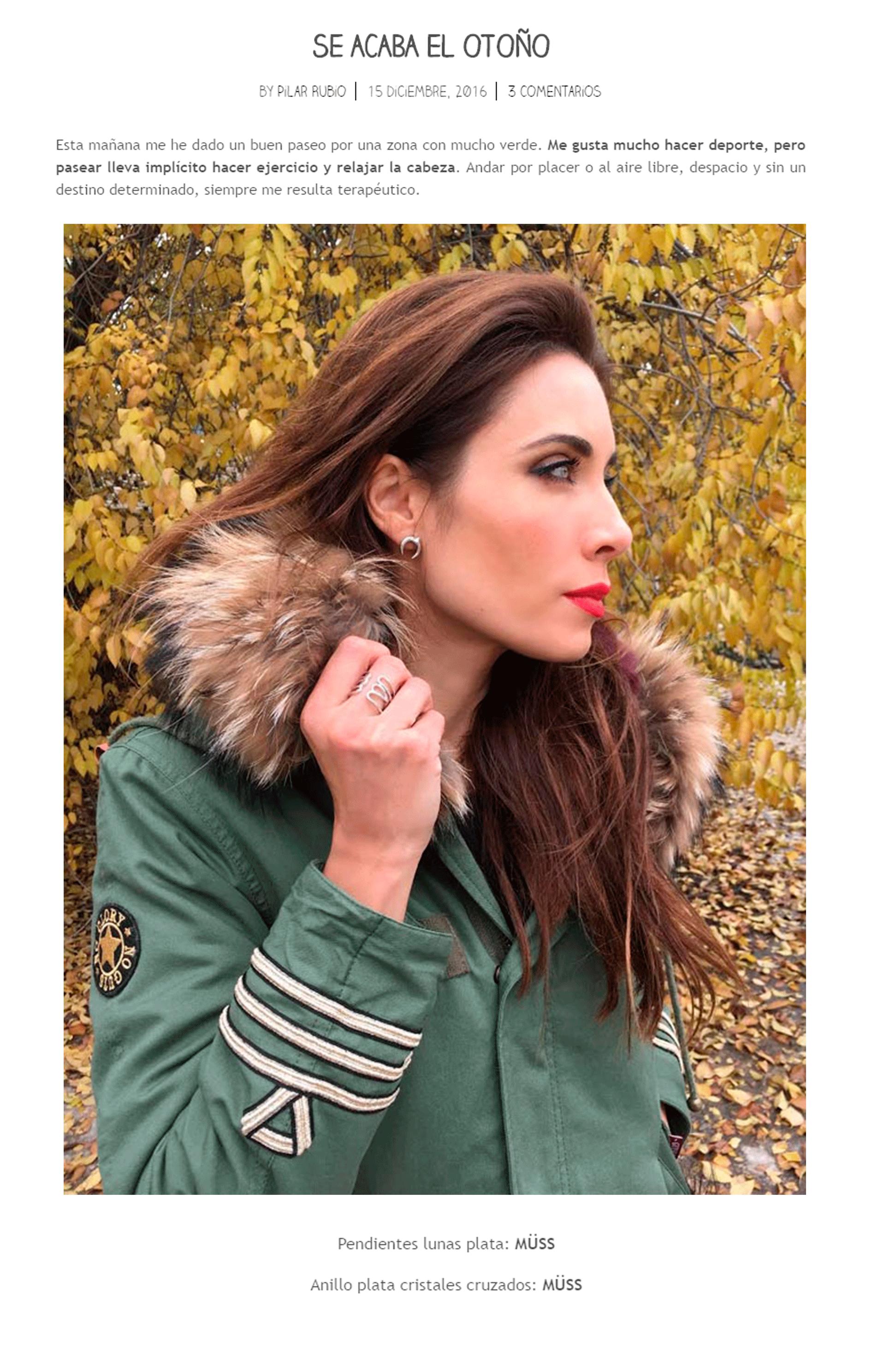 Pilar Rubio en su blog nos propone un look con joyas MÜSS